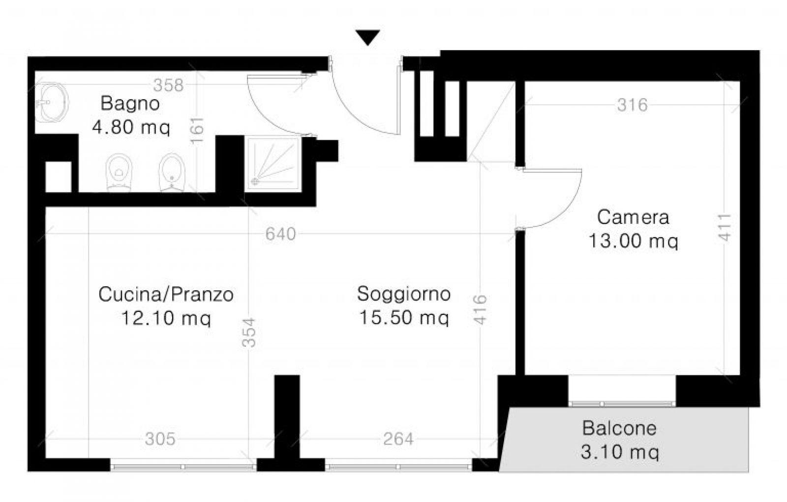 2.5 ZIMMER Wohnung Planimetria